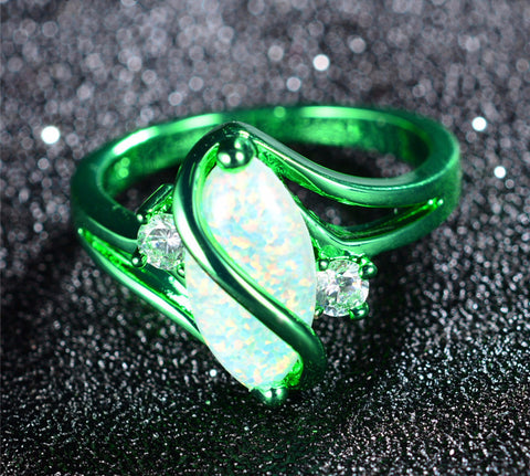 1st White Fire Opal Green Gold Ring