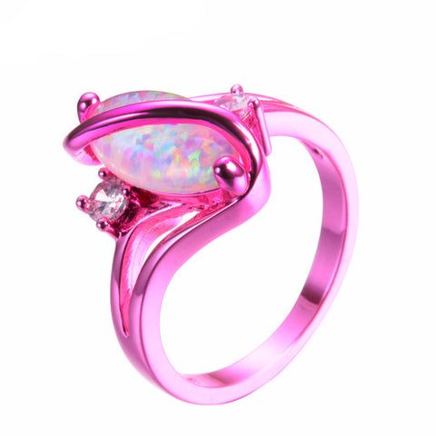 1st Pink Gold White Fire Opal Ring