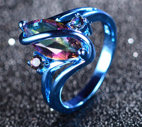 Blue Gold Mystic Rainbow Zircon Ring
