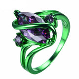1st Green Gold Purple Zircon Ring