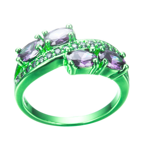 Green Gold Purple Zircon Ring