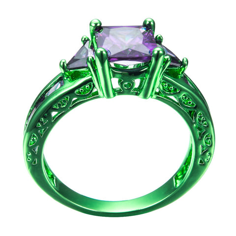 Green Gold Princess Cut Purple Zircon Ring