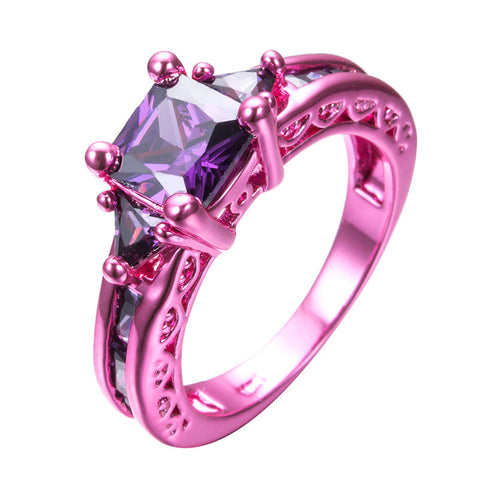 Pink Gold Princess Cut Purple Zircon Ring