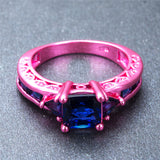 Pink Gold Princess Cut Blue Cubic Zirconia Ring - Slim Wallet Company