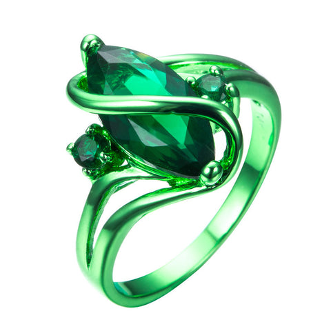 Green Gold Nature Zircon Ring - Slim Wallet Company