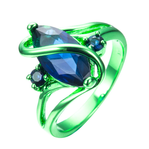 1st Green Gold with Deep Ocean Blue Zircon Ring