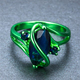 1st Green Gold with Deep Ocean Blue Zircon Ring - Slim Wallet Company
