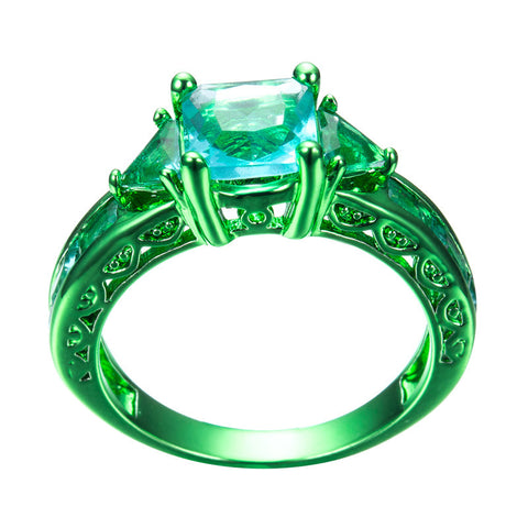 Green Gold Princess Cut Slallow Waters Blue Zircon Ring