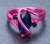 Pink Gold Blue Zircon Ring