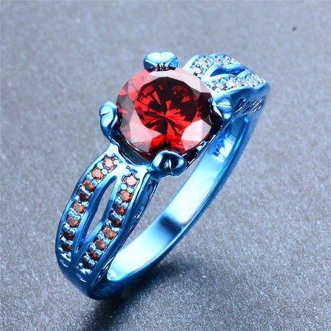 Blue Gold and Cherry Red Zircon Ring