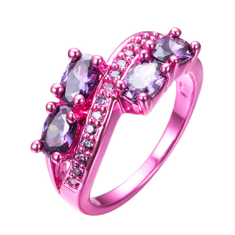 Pink Gold Purple Oval Zircon Ring - Slim Wallet Company