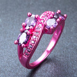 Pink Gold Purple Oval Zircon Ring