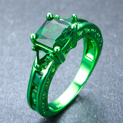 Princess Cut Green Gold Zircon Ring