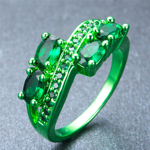 Green Gold  Zircon Crystal Ring