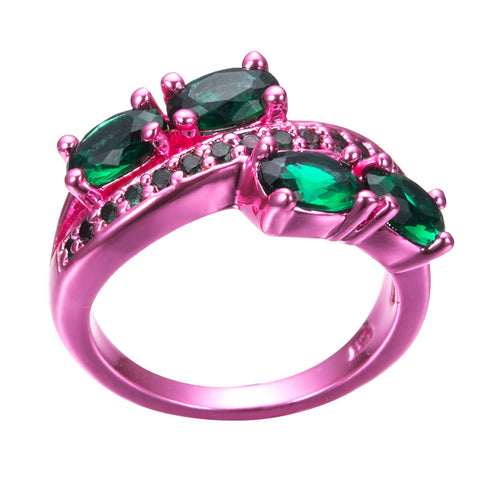 Pink Gold Green Zircon Ring
