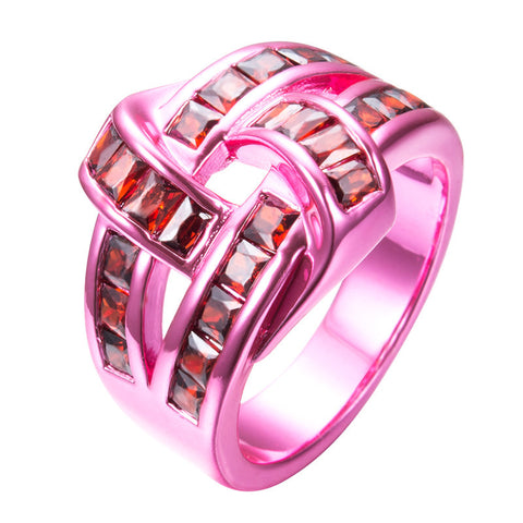 Pink Gold Red Zircon Ring