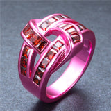 Pink Gold Red Zircon Ring - Slim Wallet Company