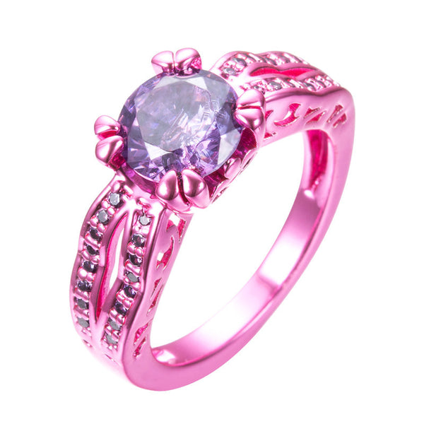 Pink Gold  Purple Zircon Ring - Slim Wallet Company
