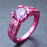 Pink Gold  Purple Zircon Ring