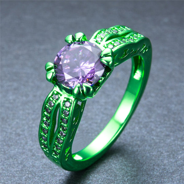 Green Gold Round Zircon Crystal Ring