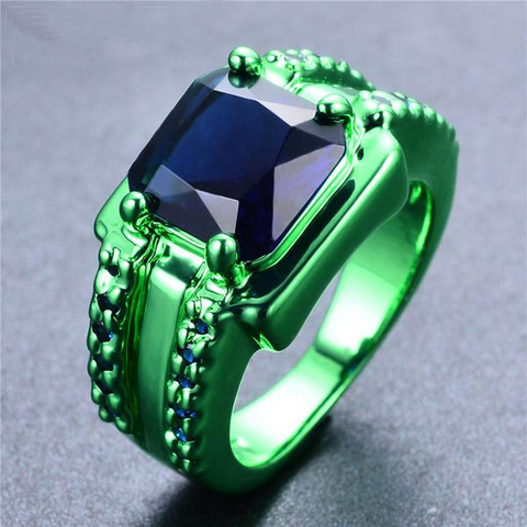 Green Gold Deep Ocean Zircon Ring