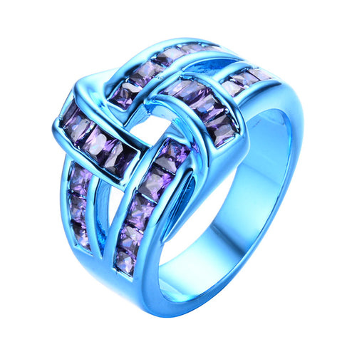 Blue Gold Purple Wine Zircon Ring - Slim Wallet Company