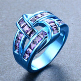 Blue Gold Purple Wine Zircon Ring