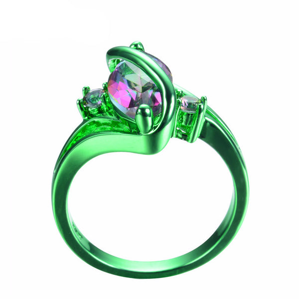 Green Gold Mystic Rainbow Zircon Ring