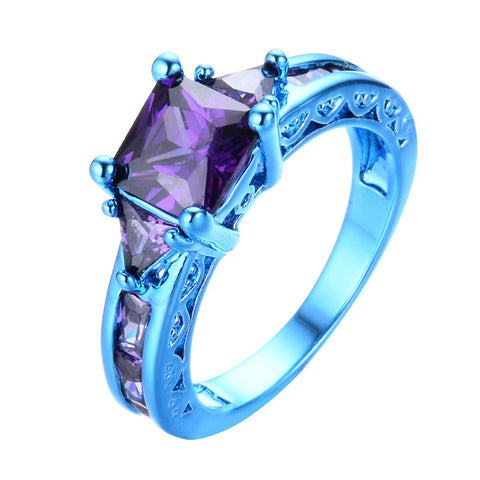 Blue Gold Square Purple Zircon Ring - Slim Wallet Company