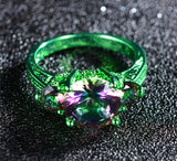 Green Gold Elegant Mystic Rainbow Zircon Ring - Slim Wallet Company