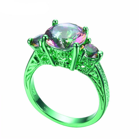Green Gold Elegant Mystic Rainbow Zircon Ring