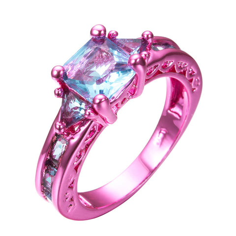 Pink Gold Princess Cut Light Blue Zircon Ring - Slim Wallet Company