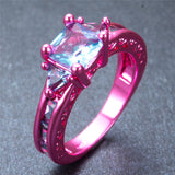Pink Gold Princess Cut Light Blue Zircon Ring