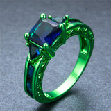 Green Gold Cosmic Blue Zircon Ring