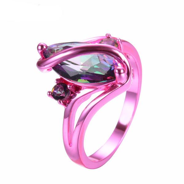 Pink Gold Mystic Rainbow Zircon Ring - Slim Wallet Company