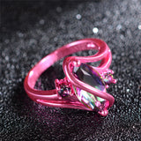 Pink Gold Mystic Rainbow Zircon Ring