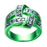 Green Gold Purple Zircon Ring - Slim Wallet Company