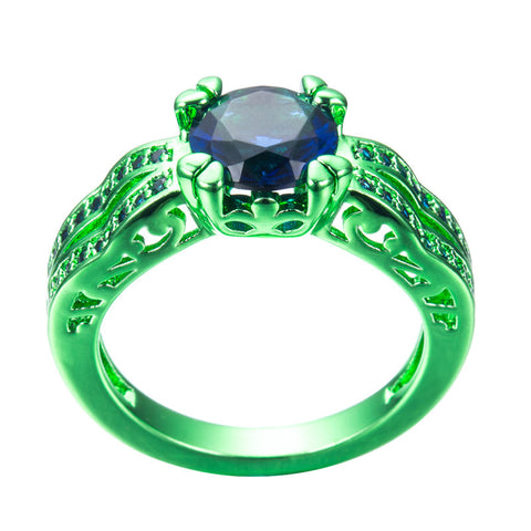 Green Gold  Blue Zircon Ring