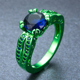 Green Gold  Blue Zircon Ring - Slim Wallet Company