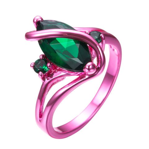 Pink Gold Green Green Stone Ring - Slim Wallet Company