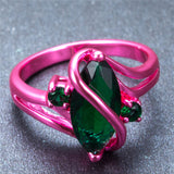 Pink Gold Green Green Stone Ring