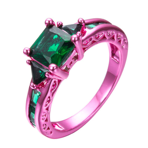 Pink Gold  Princess Cut Green Claw Ring