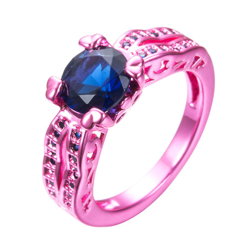 Blue Stone Claw Pink Gold Filled Zircon Cocktail Ring
