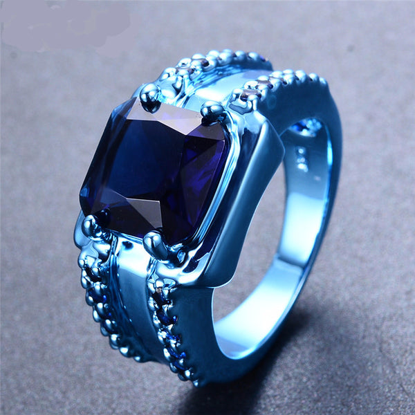 Blue Gold Ring with Blue Zircon Setting - Slim Wallet Company