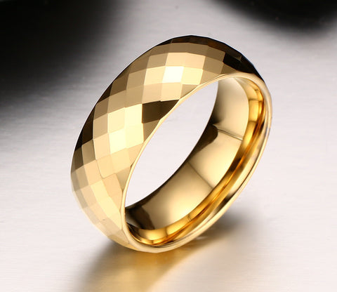 Gold Plated Tungsten Diamond cut Ring