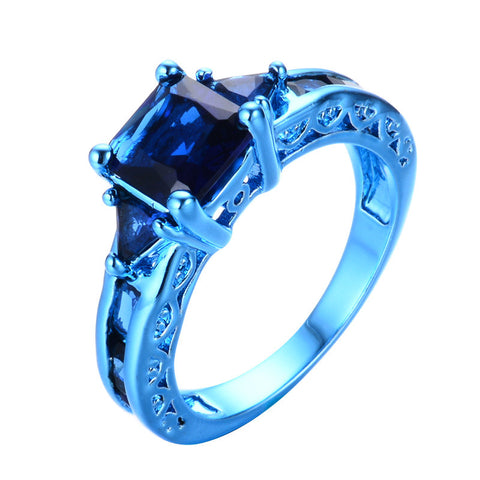 Princess Cut Blue Gold Zircon Ring