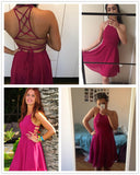 Hot Pink Cross Lace Up Backless Skater Dress