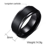 Textured Black Tungsten Rings