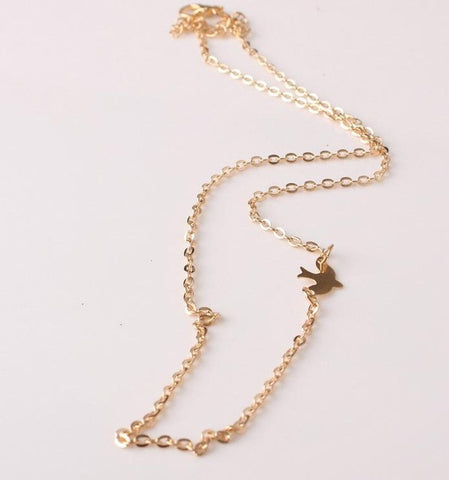 Simple Layering Necklace Gold, Silver, Gold  Delicate Gold bird Necklace / Dove Necklace
