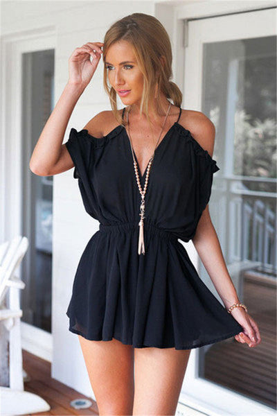 Off Shoulder Feather High Waist Romper - Slim Wallet Company